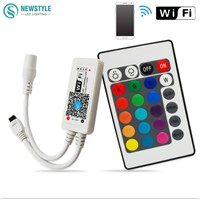 Mini Wifi led RGBW Controller + IR 24Key Remote controller for RGBW LED Strip by Smartphone IOS /Android