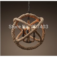 Loft retro creative pastoral hemp rope chandelier classic  American country style iron rope lamp