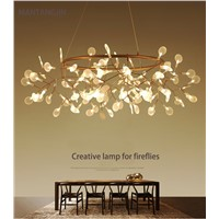 Lustre chandelier lighting  Modern circle led creative bat branches leaves firefly Nordic style restaurant lobby