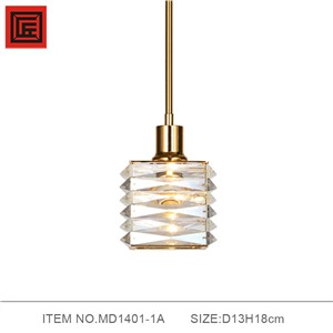 Modern Vintage Plating Iron Pendant Light Bar Cafe Bedroom Restaurant American Country Style Bright Crystal Hanging Lamp