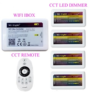 Mi.light WIFI Ibox Led Controller+2.4G 4-Zone CCT Remote+CCT Led Dimmer Controller For CW/WW Led Strip DC12-24V