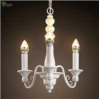 American Retro White Iron Led Pendant Chandeliers Simple Dining Room Led Candle Chandelier Lighting Bedroom Led Hanging Lights