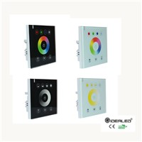 Hot sale Wall Mounted controller with glass touch panel for dimmer CCT RGBW RGB LED strip lights input DC12-24V