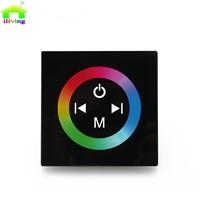 2.4G DC12V 4A*3CH Black Tempered Glass Panel Touch Screen RGB Led Strip Dimmer Wall Sticker Controller For Home Light Decoration