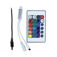 DC12V Mini 24Key RGB IR Remote Controller With 1PC Male DC Power Cable Wire Connection For 3528 5050 RGB LED Strip Light
