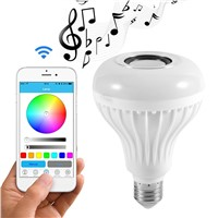 ICOCO Smart Wireless Bluetooth LED Stereo Audio Speaker RGB Colorful Bulb 12W 28 LEDs Light Beads Music Lamp+Remote Controller