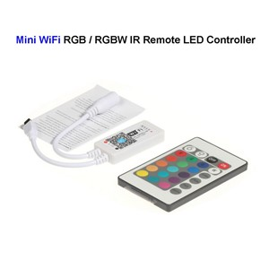 20pcs DC12V Mini WiFi RGB / RGBW LED Controller + 24Keys IR Remote Control For SMD 3528 5050 5730 LED Rigid Strip Light