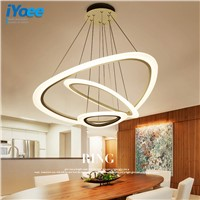 New Modern pendant lights for living room dining room 4/3/2/1 Circle Rings acrylic LED Lighting ceiling Lamp fixtures iYoee