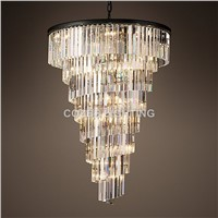 Modern Luxury Stair Chandelier Lighting RH Crystal Chandeliers Staircase Hanging Light for Home Hotel Restaurant Decoration