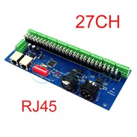 27CH have(XLR&RJ45), Easy DMX512 decoder,27 channel DMX controller,drive ,9 groups RGB output,For LED Strip Module,LED drive