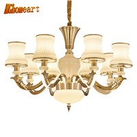 HGhomeart Chandeliers European chandelier zinc alloy imitation jade chandelier modern bedroom living room chandelier lighting