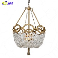 FUMAT American K9 Crystal Chandeliers Nordic Creative Pastoral Lights For Living Room Dining Room LED Lustre Gold Crystal Lights