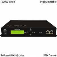 LED master controller,full color,employ Ethernet protocol,drive max 150000 pixels,control max 255 slaves,support DMX console