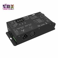 4channel 4CH PWM Constant Current DMX512 RDM LED decoder with digital display XLR3 RJ45 port DC12V-48V input setting DMX address