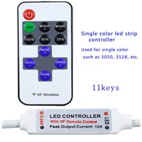 RGB Controller Led Mini Wireless Remote Controller for Single Color LED Strip Lights, RF Dimmer for DC5~24V 12A LED Light Strips