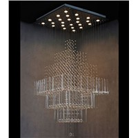 Modern Contemporary Crystal Chandelier Luxury Square Rain Drop Lamp Clear LED Light Staircase Lighting Fixture