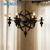 Nordic American village 6 Lights Candle Glass Candle Chandelier Heritage Frosted Iron  living, dining, bedroom bar decoration