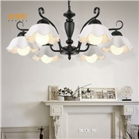 Glass chandelier  light wrought iron chandelier bedroom living room dining lamps