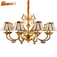HGhomeart Chandelier European-style copper chandelier living room chandelier lighting bedroom restaurant retro chandelier