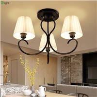 American Retro Metal Led Ceiling Chandelier Lighting Lustre Fabric Dining Room Led Chandeliers Luminaria Hanging Lights Fixtures