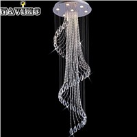 Modern Luxury Large Luxury Crystal Chandelier  Long Stair Spiral Light Fixtures for Hotel Living Room Villa