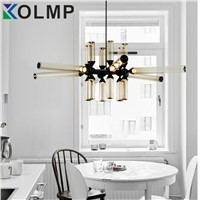 Post-modern glass tube chandelier led fashion design indoor home lighting Loft Industrial lighting for bar/cafe