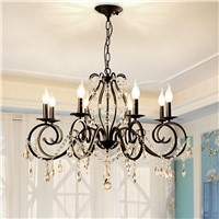 American Classic Crystal chandelier lights for Living Room/bedroom black iron e14 Candle bulb led chandelier lamps 5/6/8 arms