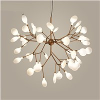 Nordic Modern Cherry Blossoms LED Chandelier Light Firefly Ceiling Lamp Glass Gold Iron Branches Atmosphere Lighting AC 110-240V