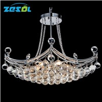 ZESOL Modern Crystal Chandelier Lighting Ceiling Lamp Transparent Color For Living Room