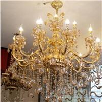 Classic Large Crystal Chandelier light Fixture Gold Crystal Chandelier light copper home lighting gold for Hotel Villa