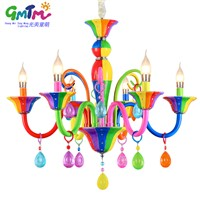 Hand painting colorful ceiling crystal princess angel kids room chandelier iron art glass crystal pendant lamps for child room