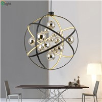 Modern Black Metal Led Pendant Chandeliers Light Lustre Chrome Glass Ball Living Room Led Chandelier Lighting Led Hanging Lights