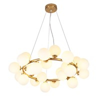 Modern Iron Glass Multi Heads Chandelier Lights For Living Room Dining Room G4 Lights Gold Glass Chandelier Lamp Fixtures