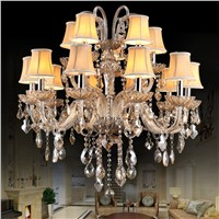 Modern Crystal Chandelier Lighting Smoky Colored Glass Hanging Light Luxury Cristal Chandeliers Lights for Home Hotel Restaurant