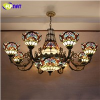 FUMAT Baroque Chandelier European Vintage Art Glass Light Bar Cafe Living Room Stained Glass Lustre Lamp Glass Light Fixtures