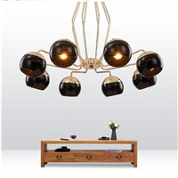 black Iron ball modern chandelier for dining room gold LEDEuropean style creative chandeliers Living room lights