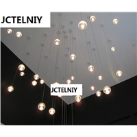 "LED  MODERN CLEAR CAST GLASS SPHERE / BALL ""METEOR SHOWER"" CHANDELIER WITH POLISHED CHROME RECTANGULAR STAINLESS STEEL BASE"