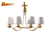 HGhomeart Chandelier European copper chandelier full copper lamp living room bedroom restaurant lights modern chandelier light