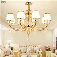 Modern Lustre Crystal Led Pendant Chandeliers Light Gold Metal Living Room Led Chandelier Lighting Dining Hanging Lights Fixture