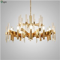 Nordic Lustre Crystal Rods Led Pendant Chandelier Lighting Gold Metal Living Room Led Chandeliers Led Hanging Lights Fixtures