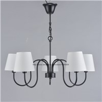 Modern Rustic Style 5 Arms Chandelier Light Lamp White Shade Bedroom Ceiling Fixtures Lighting