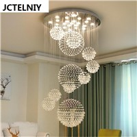 Duplex floor LED crystal chandelier staircase light chandelier simple modern villa hotel lobby living room hollow light