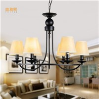 loft lamps Fabric  lampshade chandelier iron modern  chandeliers indoor lighting fixture black chandelier