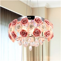 Modern Crystal chandelier lamps For kitchen Luxury Hotel rooms Rose flower  Entry Foyer lighting with E14 Led lamp 9068