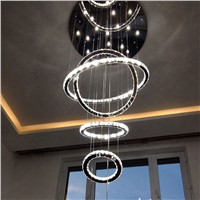 Chrome Modern chandelier lighting Crystals Diamond Ring LED Lamp Stainless Steel chandeliers for dining room Ceiling Fixtures