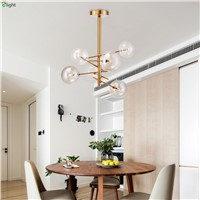 Nordic Simple Gold Metal G4 Led Pendant Chandelier Lighting Lustre Glass Dining Led Chandeliers Lamp Bedroom Led Hanging Lights