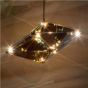 Nordic Geometric G4 Led Pendant Chandelier Lighting Lustre Gray/Amber Glass Metal Led Chandeliers Lamp Bedroom Led Hanging light