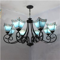 Blue Shape Tiffany Chandelier European Mediterranean Vintage Glass Suspension Light Bar Hotel Cafe Hanging Lamp Pendientes