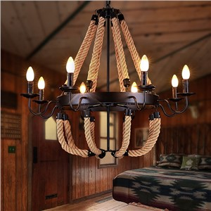 6/8 heads American Countryside Chandelier Retro Iron Hemp Rope Indoor Lighting Pendant Lamp Dining Room E14 Chandeliers WPL16