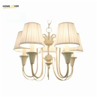 Modern LED Chandelier Lighting Fixture Gold Iron Holder Chandeliers Lamp Lustres With Fabric Lampshade For Home Decoration